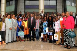 Kenya central bank chief Patrick Njoroge meets with children of Central Bank's staff who sat for their KCPE and KCSE