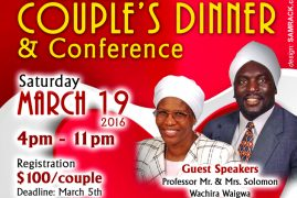 Fathers in the Diaspora Invite you to Grand Couple's Dinner & Conference Saturday March 19th 2016 @4Pm to 11Pm