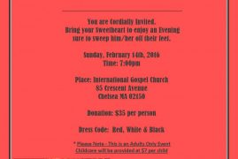 Invitation: Valentines Day Dinner Party  Sun.Feb 14th 2016 @ International Gospel Church Chelsea