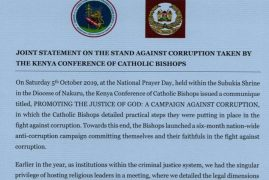 DPP Noordin Haji and DCI George Kinoti issue joint statement in support of communiqué by the Catholic Church in fight against corruption in the country.