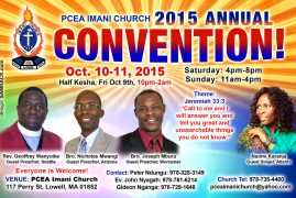 INVITATION  PCEA Imani Convention 2015 OCTOBER 10-11 2015  117 PERRY ST,LOWELL,MA
