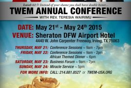 The Year of The Lords's Favor 2015: TWEM ANNUAL CONFERENCE with REV.TERESIA WAIRIMU