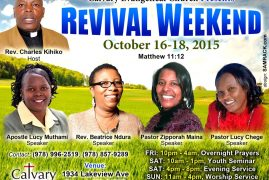 Invitation:Revival Weekend  Oct 16-18th 2015@ Calvary Evangelical Church,Dracut Massachusetts