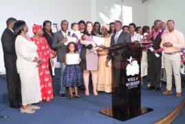 Bishop Simon Peter Kahora of Kenya Assemblies of God Limuru, officiates colorful Baby & Child Dedication at Well of Worship Center,Dracut  Massachusetts