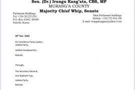 Senator Irungu Kangatas letter to UK