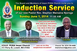PCEA IMANI CHURCH LOWELL TO FORMALLY INDUCT NEW PASTOR