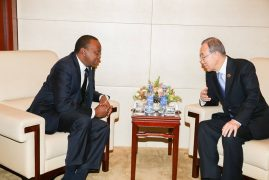 President Kenyatta meets the UN Chief Ban Ki Moon and the leaders of Zambia and Sweden