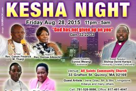All Saints Community Church,Kesha Night August 28 2015  11Pm to 5Am All are Invited!
