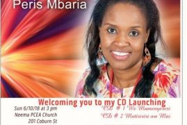 Invitation:Peris Mbaria CD Launch  June 10 2018 @ 3PM CD1 & CD 2 @ PCEA NEEMA CHURCH LOWELL,MASSACHUSETTS