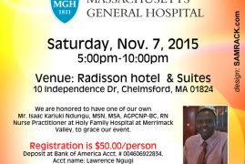 Invitation:2015 MEN'S HEALTH  BANQUET AND CONFERENCE with M.G.H Sat,November 7th 2015 5PM to 10Pm @RADISSON HOTEL