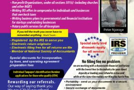 Peter Njoroge of NJOROGE TAX SERVICES  New England  @1934 Lakeview Avenue Dracut,Massachusetts   Contacts: 404-319-9704  Fax: 888-641-9906