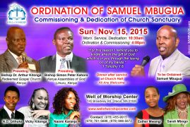 Ordination of Samuel Mbugua,Commissioning & Dedication of Church Sanctuary,Nov 15 2015