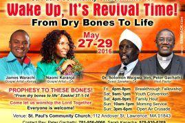 """St Paul's Community Church invites You to : Wake up,It's REVIVAL TIME! """"Prophesy to these Bones..""""May 27-29 2016"""