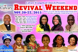 Calvary Evangelical Revival Weekend Flier Nov.20-22,2015 @1934 Lakeview Ave,Dracut,Massachusetts