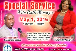 Invitation:Special Service May 1 2016 with Rev.Ruth Wamuyu @ Well of Worship CenterDracut,Massachusetts