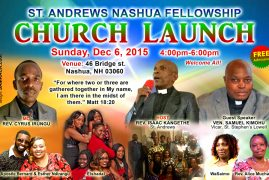 Invitation: St Andrews Nashua Fellowship,Church Launch Sunday Dec 6,2015 @4Pm-6Pm Venue: 46 Bridge St.Nashua,NH 03060