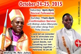 St.Luke Revival Fellowship & Confirmation Sunday October 24th-25th 2015 @ 184 Pleasant St,Malden Massachusetts