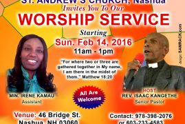 St Andrew's Church,Nashua Invites you to our Worship Service Starting Sun.Feb 14,2016