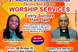 Welcome to St. Andrews Nashua – Sunday Worship Service at 11am – 1pm