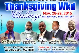 All Nations Presbyterian Church Thanksgiving Weekend Challenge Nov.28-29th 2015