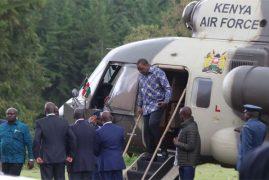 President Uhuru Kenyatta at Sagana State Lodge, Nyeri County, Gema community meeting.