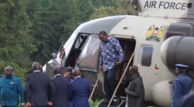 President Uhuru Kenyatta at Sagana State Lodge, Nyeri County, Gema community meeting.