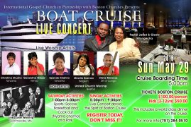Christina Shusho and top gospel artists  arrive in Boston for the Live Cruise Dinner,Youth & Believers Empowerment Conference May 25th -28 2016