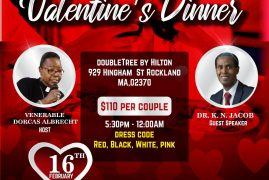 Couples Valentines Dinner: DoubleTree By Hilton 929 Hingham St Rockland,MA  with Dr K N Jacob February 16th 2020 All are Invited! $110 Per Couple