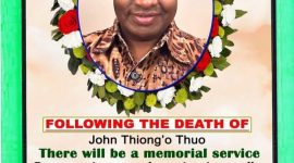 Memorial Service planned for the late John Thiongo Thuo August 4th 2019 @3:30Pm St Stephen's Church Lowell,Massachusetts