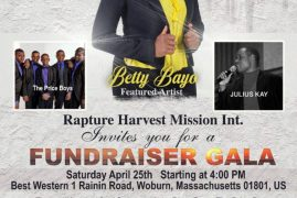 Fundraiser Gala Sat.April 25th 2020 Best Western Woburn,Ma Time 4Pm Rapture Harvest Mission Int