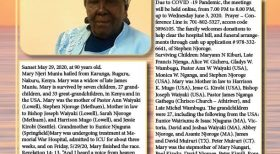 Transition/Death Announcement of Mary Njeri Muniu, mother to Pastor Ann Waiyaki and Stephen Njoroge of Lowell,Massachusetts