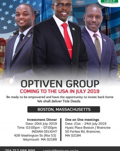 Optiven Group Boston,Massachusetts Tour July 20th -21st 2019 Investment Dinner