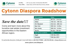 Cytonn  Diaspora USA Roadshow: Atlanta,Dallas,DC/Maryland,NY,New Jersey,Boston,& East-Africa regions,Kigali,Kampala