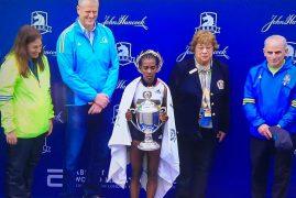 SHE'S DONE IT! Worknesh Degefa has won the Boston Marathon women's elite race!