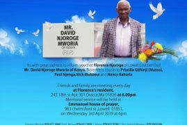 Transition Death Announcement of Mr David Njoroge Mworia father to Florence Njoroge of Lowell,Massachusetts