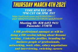 Invitation:Make a Brand and Land that Job Virtual Zoom meeting March 4 2021 Time 8Pm EST