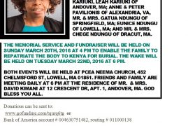 TRANSITION/DEATH ANNOUNCEMENT/MEMORIAL SERVICE OF Eunice Keriri  of Andover,MA