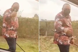 President Uhuru Videotaped Taking a Walk Along the Roadside Alone