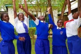 The five Kisumu Girls' students who were named winners of the Daily Trust African of the Year Award THE STAR