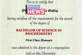 Young man scored an A in a village secondary school, then placed to study Biochemistry.