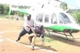 VIDEO: Man Almost Killed by Chopper Blades As He Begged for Money from Baringo MPs