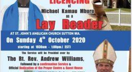 St John's Anglican Church Sutton,MA Licensing of Michael Kamau Mburu as a Lay Reader
