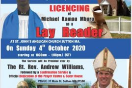 St John's Anglican Church Sutton,MA Licensing of Michael Kamau Mburu as a Lay Reader